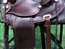 TT102 HILASON FLEX-TREE TRAIL PLEASURE WESTERN LEATHER HORSE SADDLE