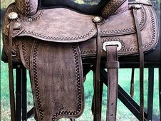 Hilason western leather flex tree trail pleasure horse riding saddle