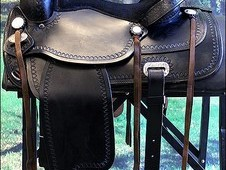 HILASON WESTERN LEATHER FLEX TREE TRAIL PLEASURE HORSE RIDING SADDLE BLACK