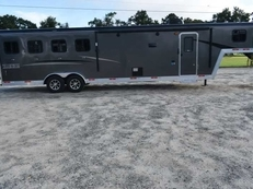 New 2019 Bison Trail Boss 7410SO 4 Horse Trailer with 10' Short Wall