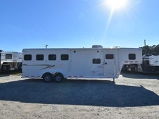 Used 2013 Kiefer Built 7408LQ 4 Horse Trailer with 8' Short Wall