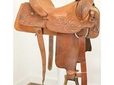 "Used 15"" Rick Call Maker Roping Saddle"