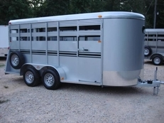6ft X 16ft Deluxe Silver Livestock Trailer, 6.5ft Tall, Side Escape Door!