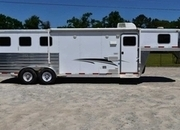 Used 2012 Exiss 7308LQ 3 Horse Trailer with 8' Short Wall