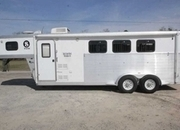 Used 2004 Exiss 7307LQ 3 Horse Trailer with 7' Short Wall