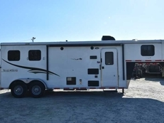 Used 2015 Bison TH7208LQ 2 Horse Trailer with 8' Short Wall