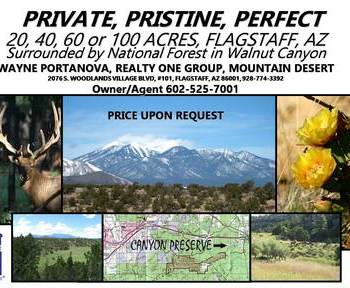 WALNUT CANYON RANCH: 160 ACRES OF PROTECTION, FREEDOM, FLAGSTAFF, AZ
